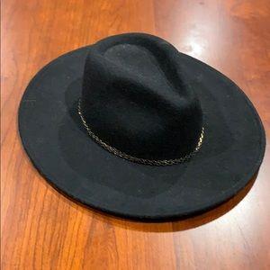 ZARA Wide Brimmed Felt Hat Black Cowboy One Size